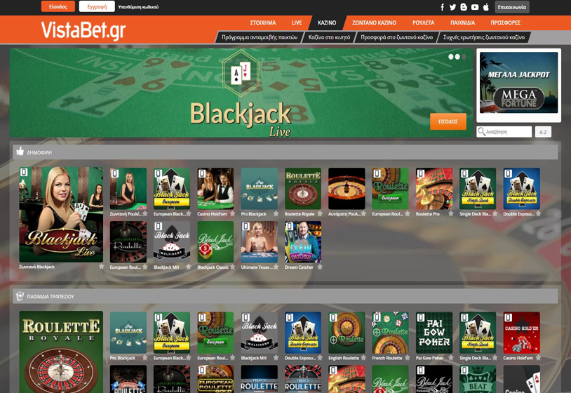 Vistabet Casino Screenshot